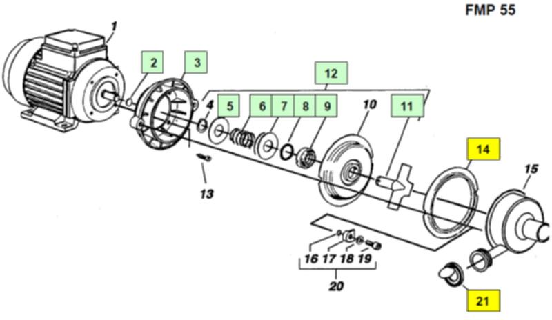 Двигатель молочного насоса FMP55